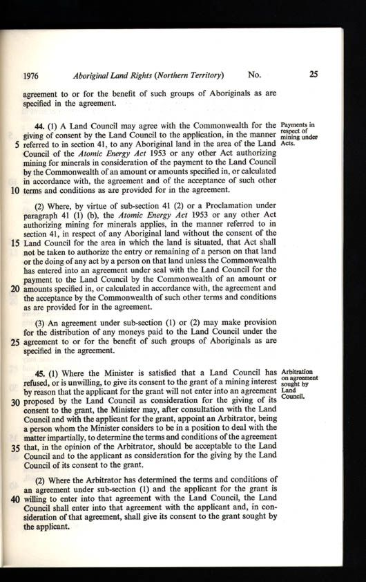 Aboriginal Land Rights (Northern Territory) Act 1976 (Cth), p25