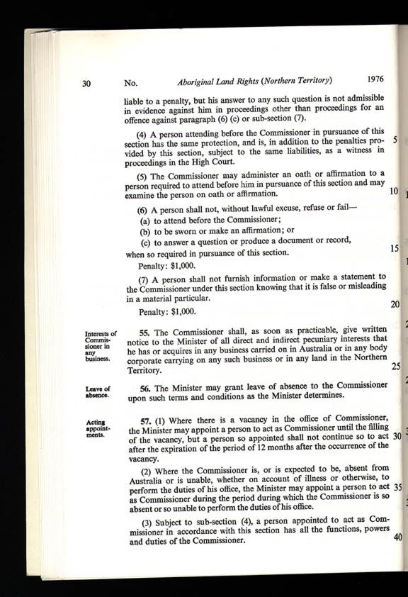 Aboriginal Land Rights (Northern Territory) Act 1976 (Cth), p30