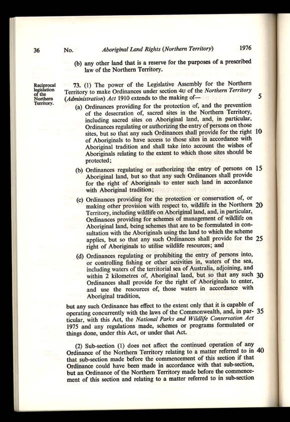 Aboriginal Land Rights (Northern Territory) Act 1976 (Cth), p36