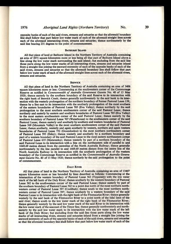 Aboriginal Land Rights (Northern Territory) Act 1976 (Cth), p39