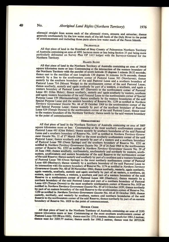 Aboriginal Land Rights (Northern Territory) Act 1976 (Cth), p40