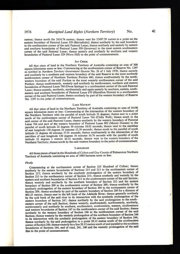 Aboriginal Land Rights (Northern Territory) Act 1976 (Cth), p41