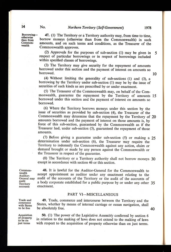 Northern Territory (Self-Government) Act 1978 (Cth), p14