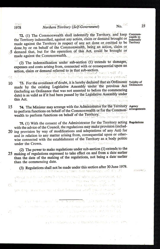 Northern Territory (Self-Government) Act 1978 (Cth), p23