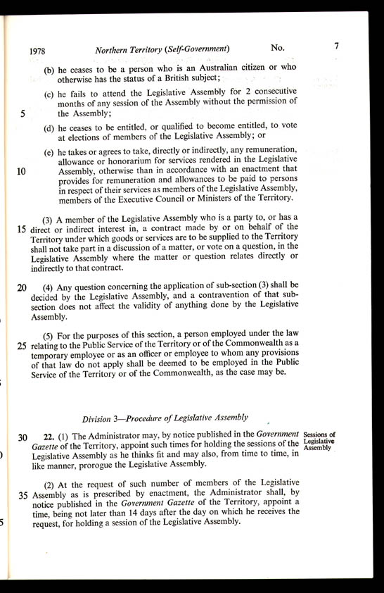 Northern Territory (Self-Government) Act 1978 (Cth), p7