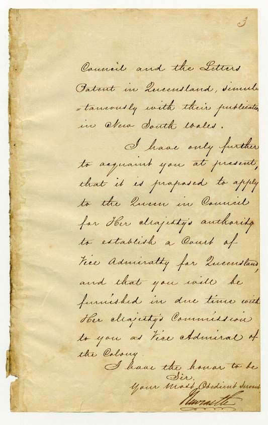 Order-in-Council establishing Representative Government in Queensland 6 June 1859 (UK), p3