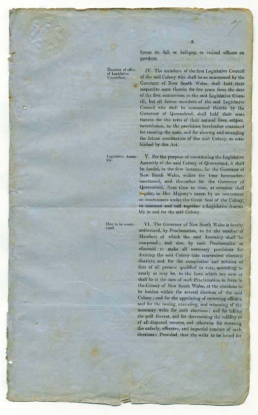 Order-in-Council establishing Representative Government in Queensland 6 June 1859 (UK), p7