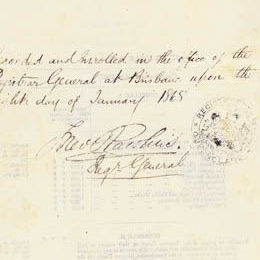 Detail from the last page of the Constitution Act 1867 (Qld) showing the signature and seal.