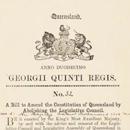 Detail from front cover of the Constitution Act Amendment Act 1922 (Qld) showing the crest and full title of the Bill.