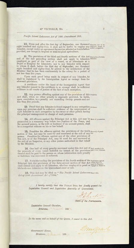 Pacific Island Labourers Act Amendment Act 1884 (Qld), p3