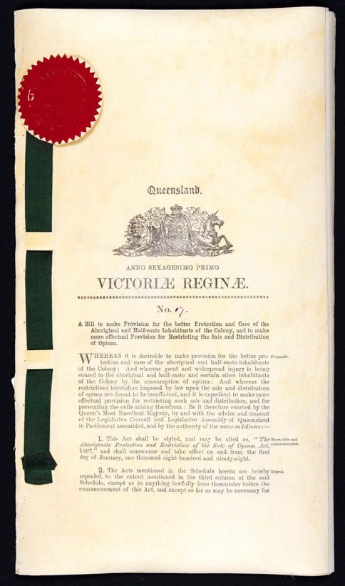 Aboriginals Protection and Restriction of the Sale of Opium Act 1897 (Qld), p1
