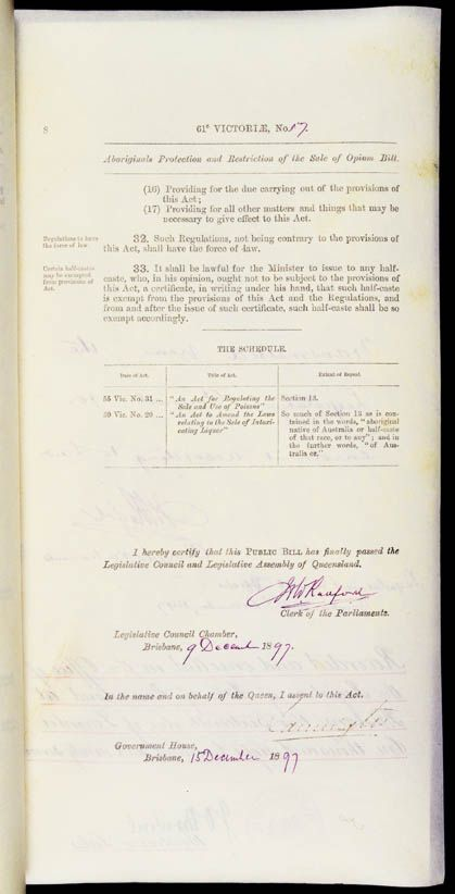 Aboriginals Protection and Restriction of the Sale of Opium Act 1897 (Qld), p8