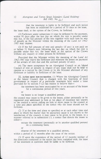 Aborigines and Torres Strait Islanders (Land Holding) Act 1985 (Qld), p12