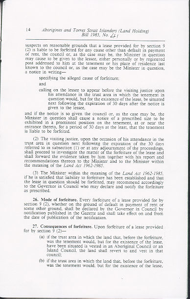 Aborigines and Torres Strait Islanders (Land Holding) Act 1985 (Qld), p14