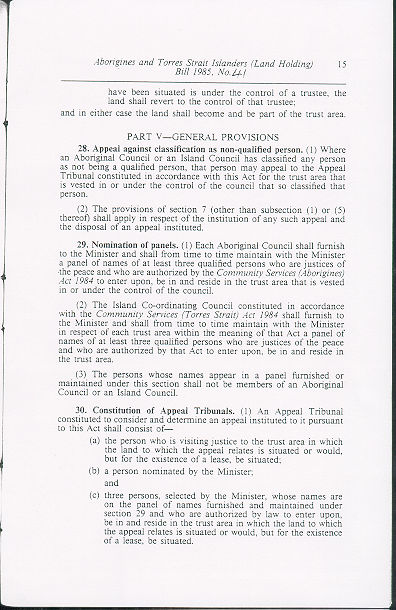 Aborigines and Torres Strait Islanders (Land Holding) Act 1985 (Qld), p15