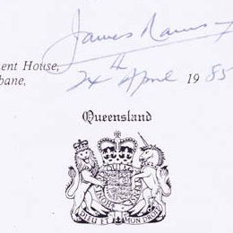 Detail showing the Queensland crest and signature of the Governor assenting to the Aborigines and Torres Strait Islanders (Land Holding) Act 1985 (Qld).