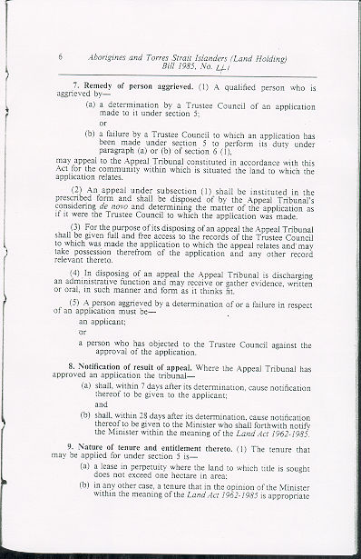 Aborigines and Torres Strait Islanders (Land Holding) Act 1985 (Qld), p6