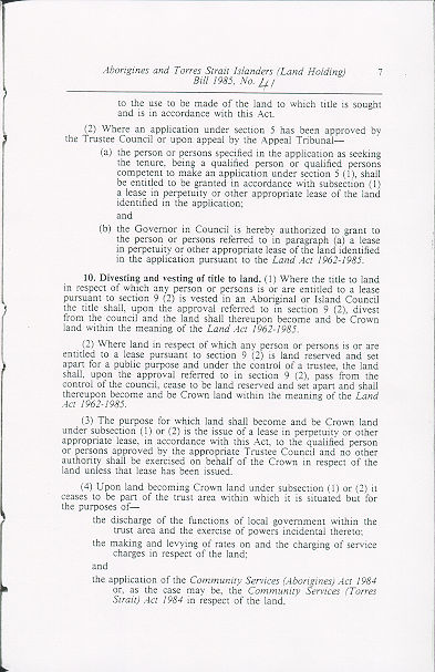 Aborigines and Torres Strait Islanders (Land Holding) Act 1985 (Qld), p7