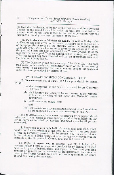 Aborigines and Torres Strait Islanders (Land Holding) Act 1985 (Qld), p8