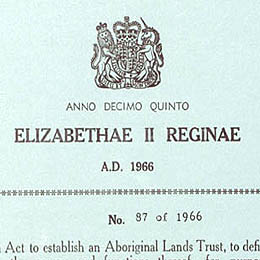 Detail showing the crest on the title page of the Aboriginal Lands Trust Act 1966 (SA).