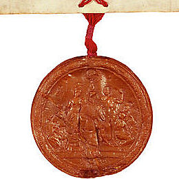 Detail of the wax seal attached to the Letters Patent establishing the Province of South Australia 19 February 1836 (UK).