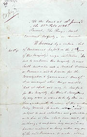 Order-in-Council Establishing Government 23 February 1836 (UK), p1