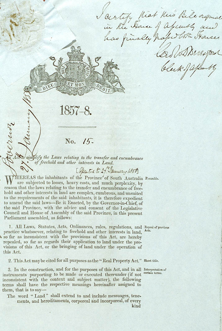 Real Property or 'Torrens Title' Act 1858 (SA), cover