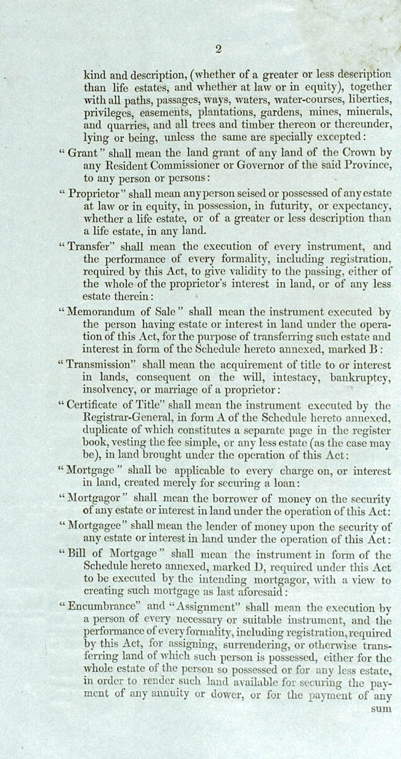 Real Property or 'Torrens Title' Act 1858 (SA), p2