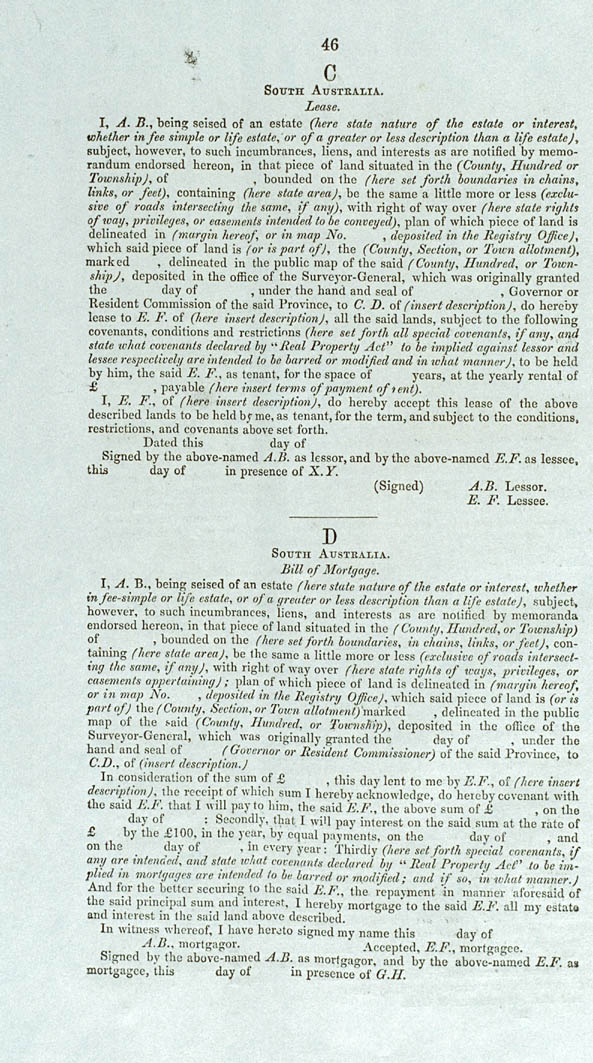 Real Property or 'Torrens Title' Act 1858 (SA), p46