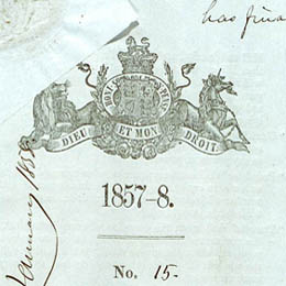 Detail showing the crest on the title page of the Real Property or 'Torrens Title' Act 1858 (SA).