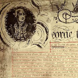 Detail showing the decorative border on the first page of the Charter of Justice 2 April 1814 (UK).