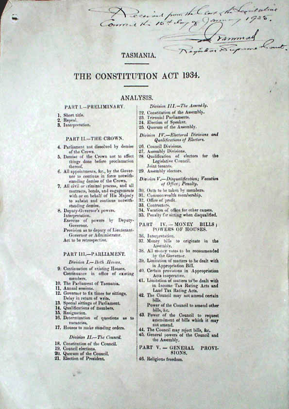 Constitution Act 1934 (Tas), contents