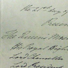 This detail of the first page of the Order-in-Council changing the name to Tasmania 21 July 1855 (UK) lists the names of those present.