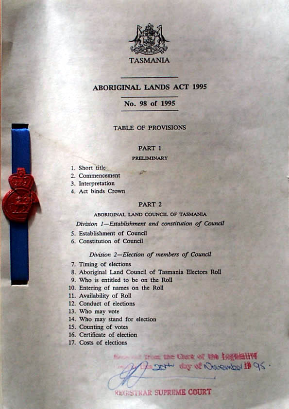 Aboriginal Lands Act 1995 (Tas), contents1