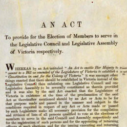 Detail from the title page of the Electoral Act 1856 (Vic).