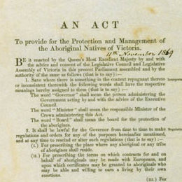 Detail showing the title page of the Aboriginal Protection Act 1869 (Vic).