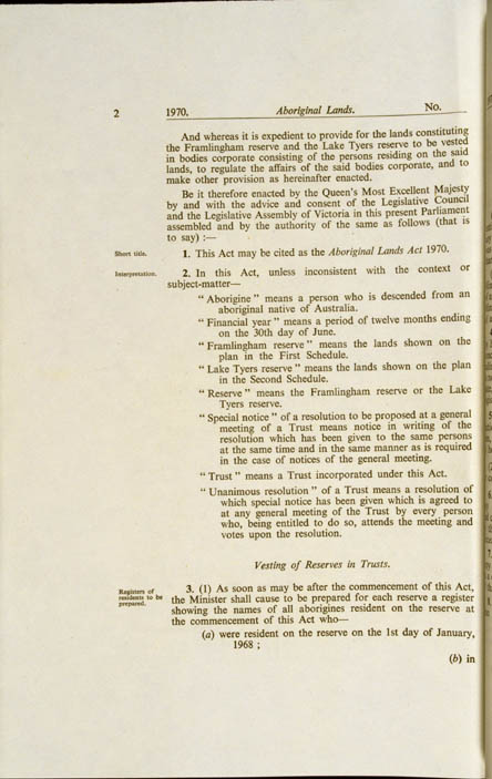 Aboriginal Lands Act 1970 (Vic), p2