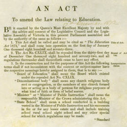 Detail from the title page of the Education Act 1872 (Vic).