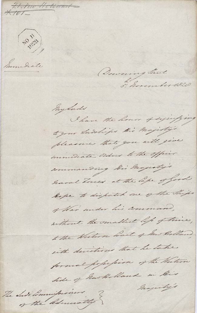 Instructions to the Admiralty to take formal possession of the western portion of the continent 5 November 1828 (UK), p1