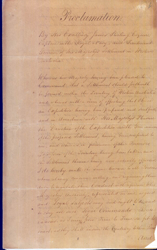 Lieutenant-Governor Stirling's Proclamation of the Colony 18 June 1829 (UK), p1