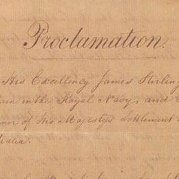 Detail from the title page of Lieutenant-Governor Stirling's Proclamation of the Colony of Western Australia.