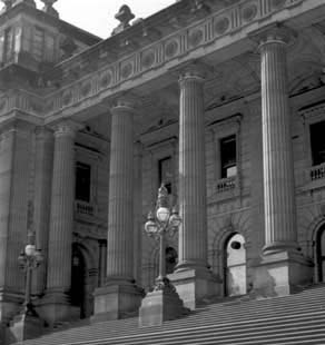 The Victorian Parliament still occupies this bluestone building in Spring Street Melbourne