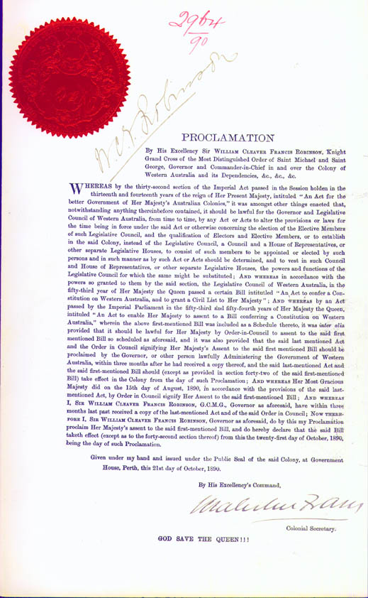 Proclamation of the Constitution Act, 21 October 1890