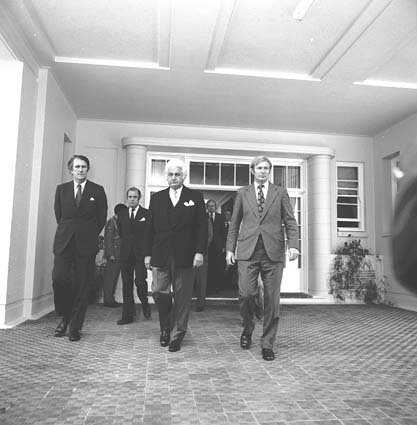 Prime Minister Malcolm Fraser, Governor-General Sir John Kerr and Deputy Prime Minister Doug Anthony