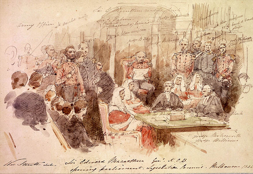 Artist William Strutt's sketch of the opening of the first Parliament of Victoria