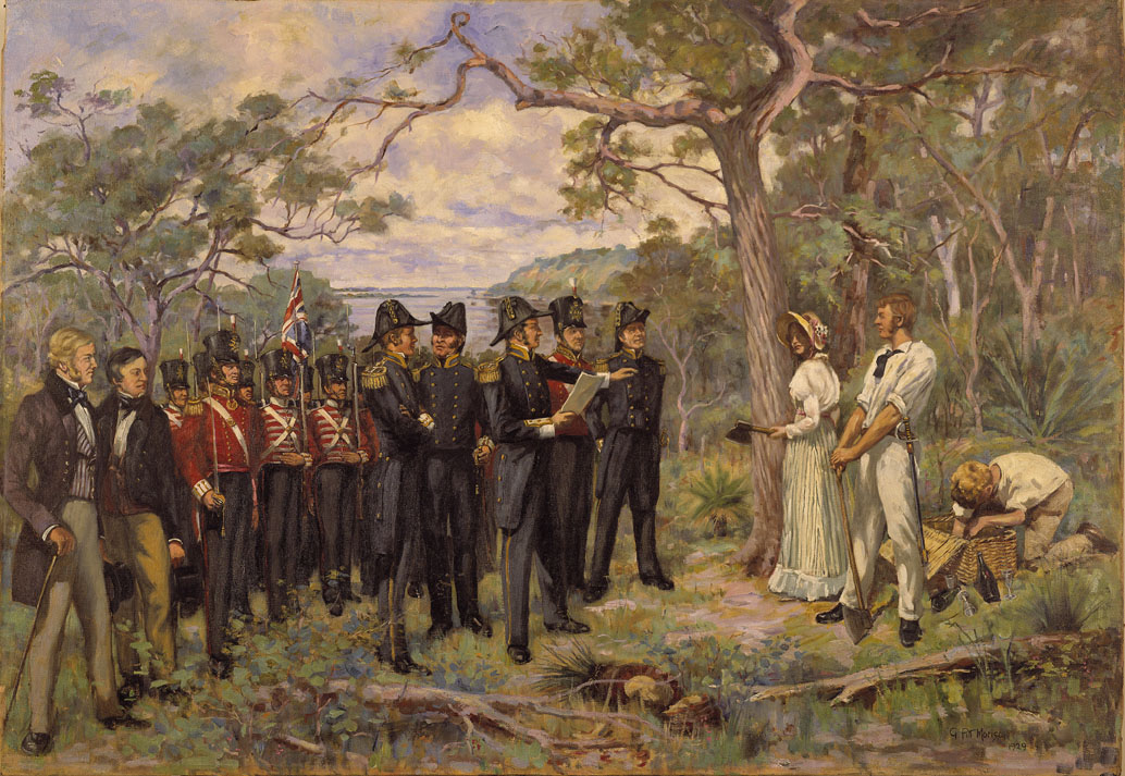 Painting by George Pitt Morrison entitled 'The Foundation of Perth'